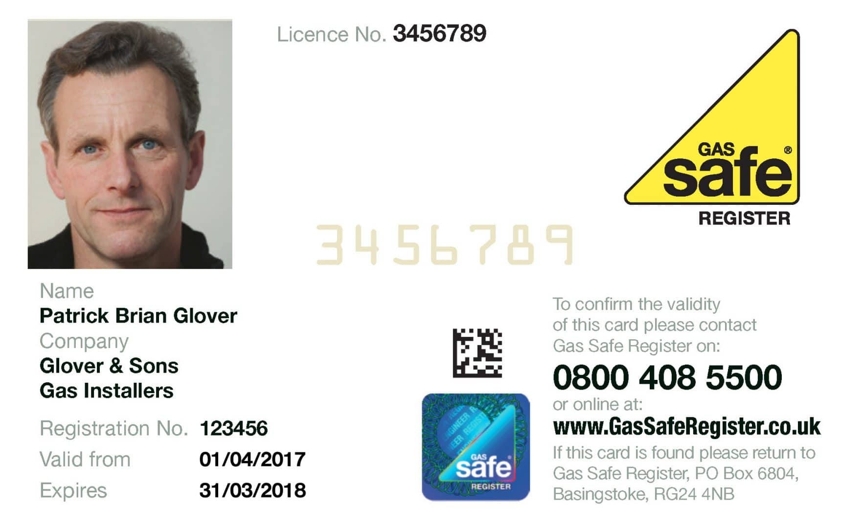 gas safe card front