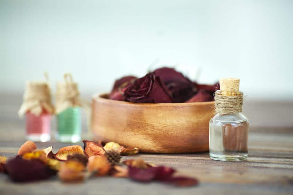 Close up of vials with rose essence