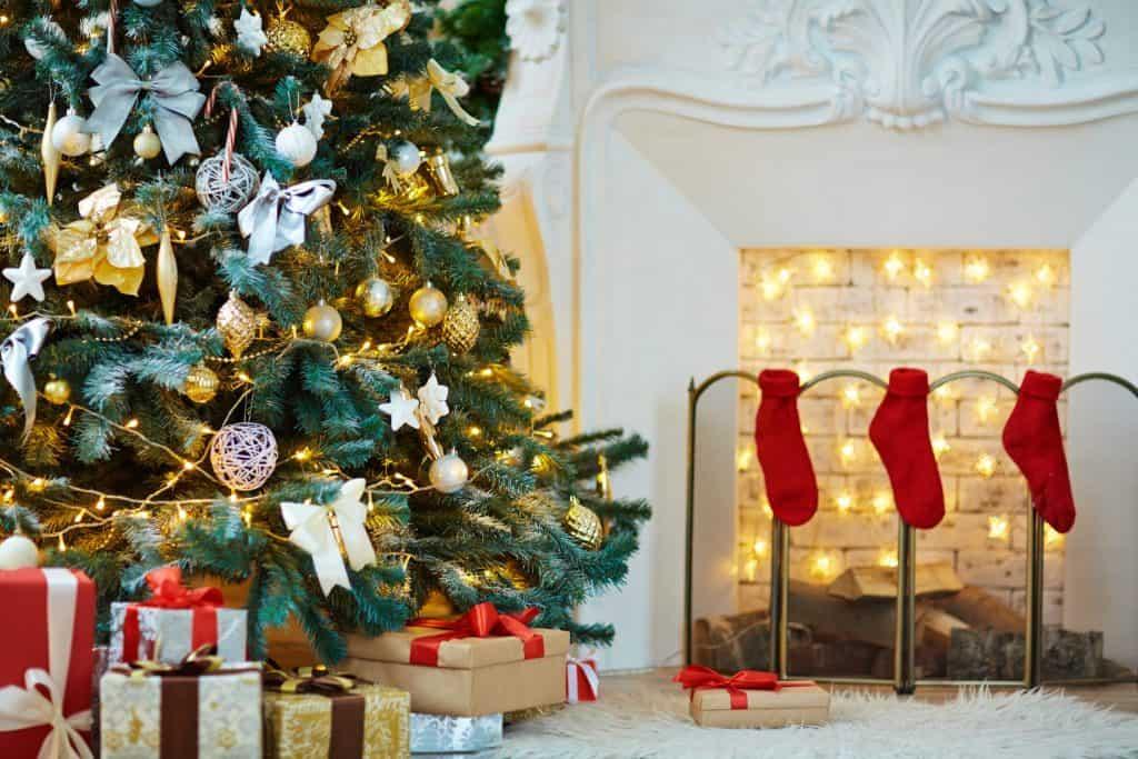 christmas stocking and tree