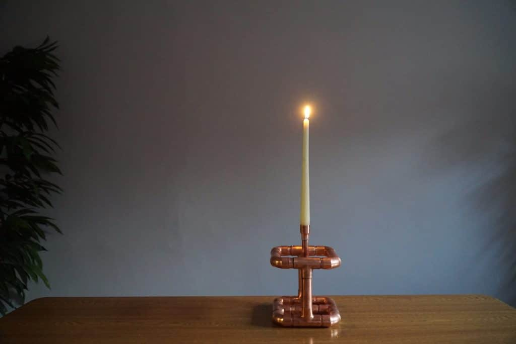 creative plumbing candle holder