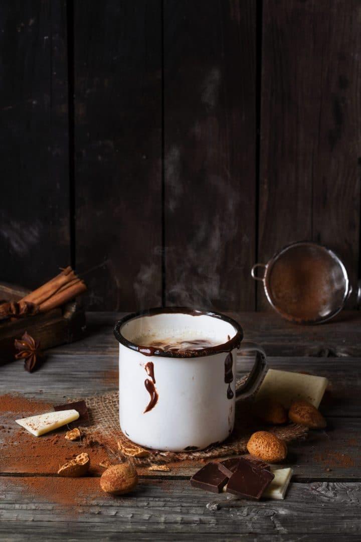 Vintage mug with hot chocolate